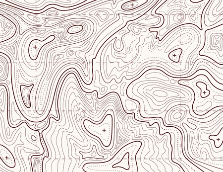 Topographic map. Trail mapping grid, contour terrain relief line texture. Cartography vector concept Фото со стока - 126771898