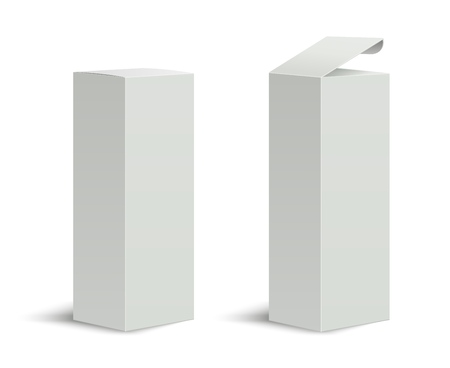 Tall box. High white cardboard box with a closed and open lid. Set of realistic vertical tall cardboard rectangular packaging, paper boxes. Vector 3D illustration isolated collection Фото со стока - 126480333