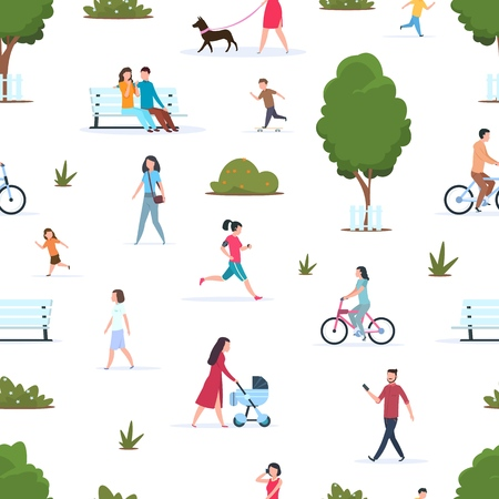 People in park seamless pattern. Active persons walking running in nature. Cartoon family and kids in spring park vector texutre
