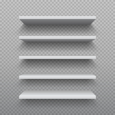 Realistic bookshelf. White plywood empty wall shelf, modern hardwood furniture, set of 3D business retail shelves vector illustration Stock Illustratie