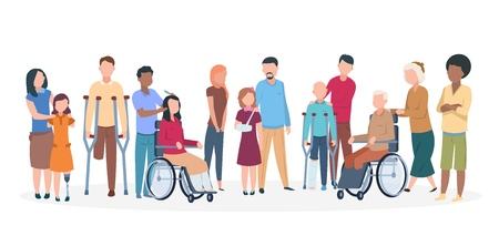 Behinderte Menschen. Menschen mit Behinderungen glückliche freundliche Familie. Verletzte Personen mit Assistenten behindert. Vektorzeichen