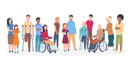Handicapped people. People with disabilities happy friendly family. Disable injury persons with assistants. Vector characters