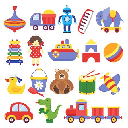 Kinderspielzeug. Spiel Spielzeug Peg-Top Teddybär Trommel gelbes Entlein Dinosaurier Rakete Kinder Würfel Roboter. Baby Kleinkind Spielzeug Cartoon Vektor Vektorgrafik
