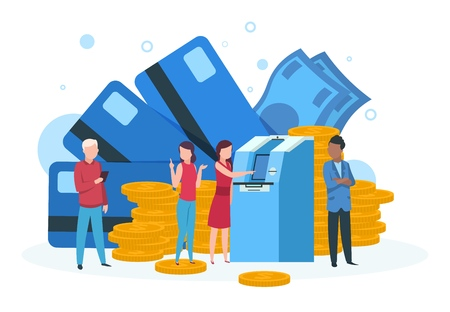 Atm business concept. Customers with credit card withdrawal money standing in line at bank atm landing vector page