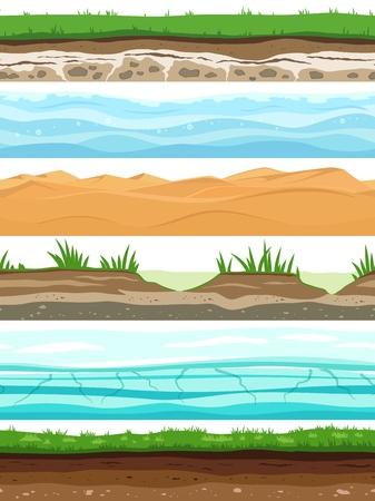 Couches de sol. L'herbe de la surface du sol de Campo a séché l'eau de sable du désert. Ensemble de vectorielle continue au niveau du sol