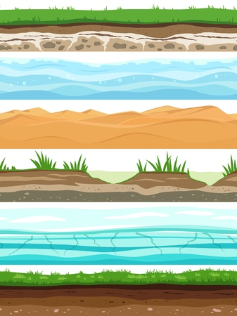 Soil layers. Campo ground surface land grass dried desert sand water. Ground levels seamless vector set