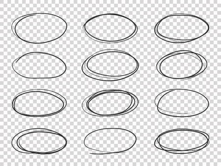 Cerchi di scarabocchio. Ellisse disegnata a mano, evidenzia circolare vecchio set isolato vettore schizzo a matita Vettoriali