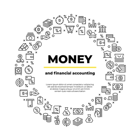 Finance account line icons. Money balance, real estate car crediting finance productivity poster. Bank businesstor vector brochure