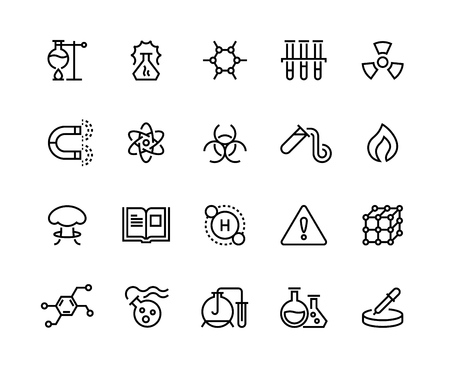 Chemical line icons. Toxic chemicals, laboratory equipment, scientific research molecular formula. Scientific symbols vector set