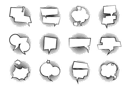 Comic Speech Bubbles. Retro talk cloud monochrome dialog balloon cartoon speak chat empty speech balloons. Comics bubbles vector set