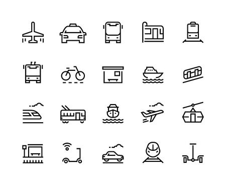 Transport line icons. Public bus car airplane train tram boat vehicle taxi service trolley city travel. Transportation vector set
