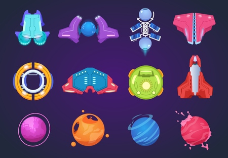 Cartoon space icons. Spaceships alien planets ufo aerospace rockets and missiles. Space kids fantastic game vector items