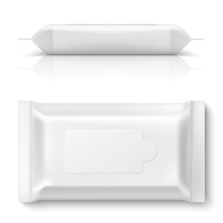 Paquete de flujo de toallitas húmedas. Embalaje de toallitas de bebé blanco realista Caja de pañuelos de plástico de maqueta de paquete de almohada en blanco vacío 3D. Plantilla de diseño vectorial