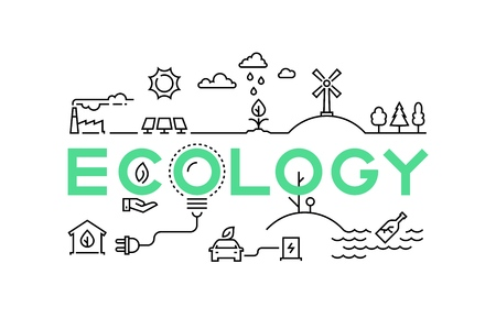 Concepto de línea de ecología. Industria de reciclaje del medio ambiente verde del ecosistema de la naturaleza de gusanos globales. Conjunto de vector de eco de innovación empresarial