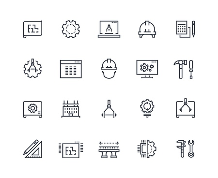 Engineering line icons. Work project, mechanical and electrical engineering. Measuring, development and production vector pictograms Illustration