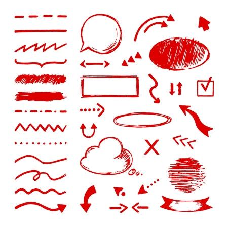 Markieren Sie Gekritzel. Wählen Sie Pfeilmarkierungssymbole aus. Auswahl und Mauszeiger zeichnen Kreisrahmen kritzeln unterstrichen. Textmarker-Vektormarkierungen Vektorgrafik
