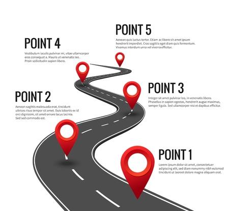 Infografía de carretera. Cronología de la carretera curva con punto de control de alfileres rojos. Carretera de viaje de estrategia con concepto de vector de hitos Ilustración de vector