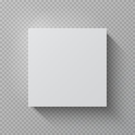 Realistischer Karton. Quadratisches weißes Mockuppapierpaket, Draufsicht leere Kartongeschenksatzvektor 3D-Designschablone Vektorgrafik