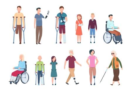 Behinderte Menschen. Diverse Verletzte im Rollstuhl, ältere Menschen, Erwachsene und Kinder. Vektorset für behinderte Charaktere Vektorgrafik
