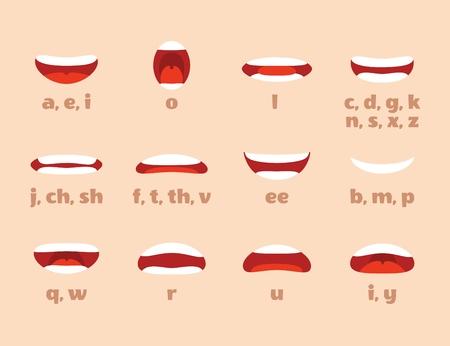 Animatie van de mond. Cartoon lippen spreken expressie, articulatie en glimlach. Spreken pratende mond vector geïsoleerde set