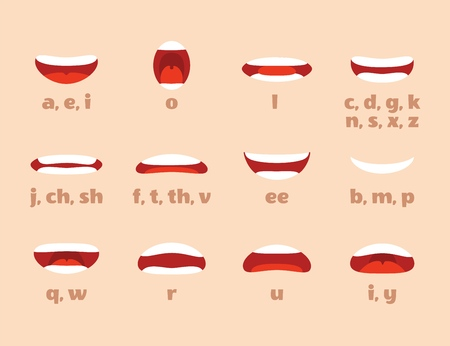 Mouth animation. Cartoon lips speak expression, articulation and smile. Speaking talking mouth vector isolated set Vectores