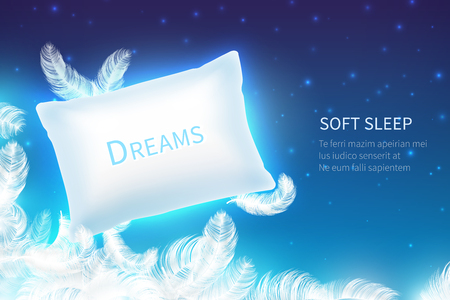 Realistic sleep concept. Soft sleep pillow with feathers, clouds and starry night sky mock up. Dream and rest 3D vector background