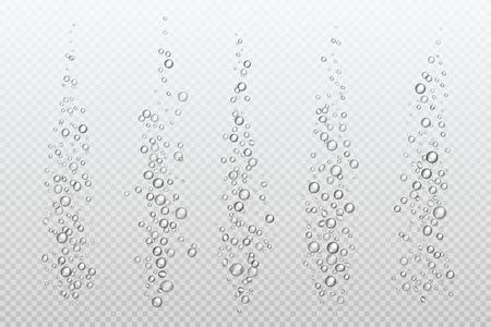 Realistic fizzing bubbles. Underwater carbonate sparkles under water fizz gas isolated aquarium air. Vector bubble stream Illustration