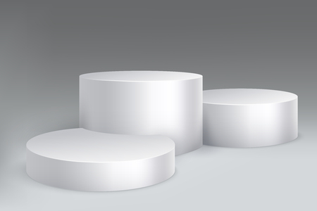 Studio podium. Marble stand pillar base, pedestal with cylinders. Empty white exposition showroom vector isolated mockup
