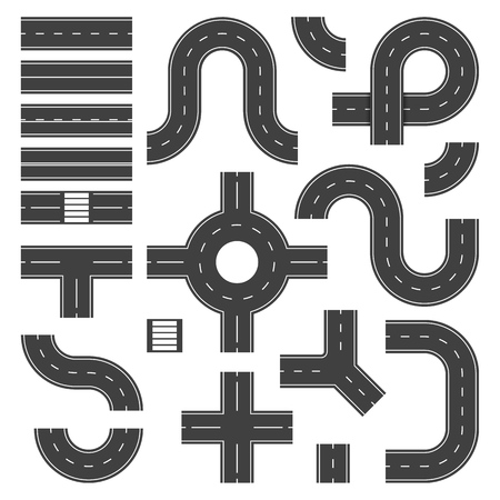 Top view road elements. Street junction and roads objects, asphalt city speedway. Traffic crossroad footpaths vector isolated set