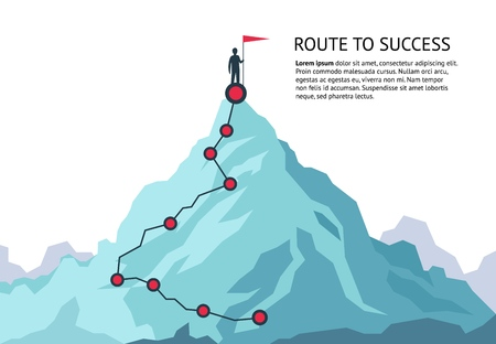 Mountain journey path. Route challenge infographic career top goal growth plan journey to success. Business climbing vector concept Stock Illustratie