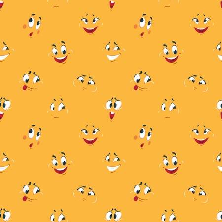Cartoon smiley pattern. Funny crazy faces happy cute smile caricature fun comic expressions Cartoons face vector seamless background