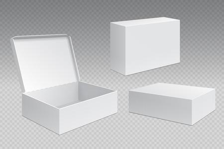 Boîtes d'emballage réalistes. Paquet de carton ouvert blanc, maquette de produits de merchandising vierges. Modèle vectoriel de conteneur carré en carton