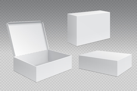 Realistic packaging boxes. White open cardboard pack, blank merchandising products mock up. Carton square container vector template 写真素材 - 116608304