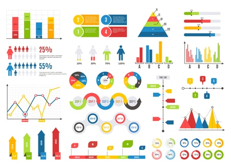 Infographics chart set. Charts result graphs icons statistics financial data diagrams. Isolated analysis infographic vector elements