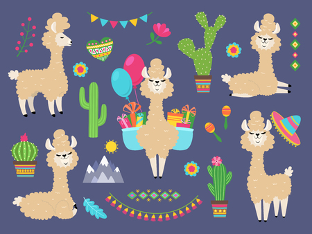 Cute alpaca. Funny cartoon llama, peru baby lamas and cacti flowers. Wild alpacas animals vector characters