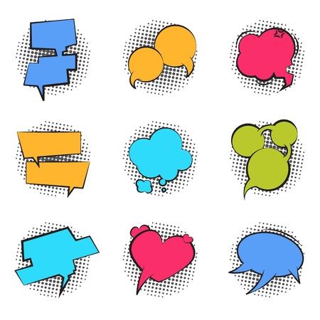 Comics bubble. Cartoon speech pop art balloon talk chat funny cloud massage comic dialog bubble text label. Vector retro talk shape set