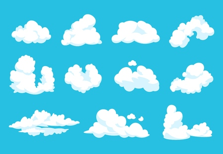 Chmury kreskówka. Niebo atmosfera niebieski niebo 2d vintage puszysty symbol czysty płaski kształt pochmurno grafiki. Wektor kreskówka niebo zestaw