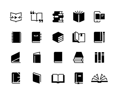 Black books icons. Study education book set, textbook magazine diary bible business collection. Vector book logo Logo