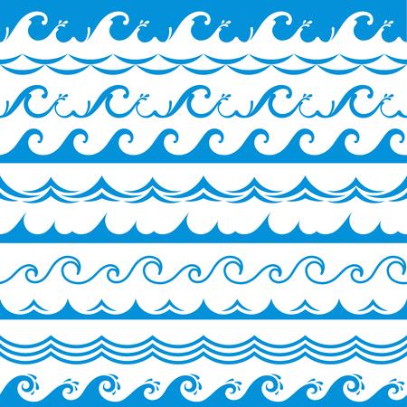 Cornice dell'onda del mare. Senza soluzione di continuità oceano tempesta onde di marea fiume ondulato spruzzi d'acqua blu elementi di design bordi orizzontali vettore isolato set