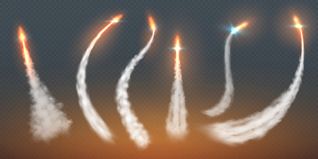 Rocket condensation trails. Fire jet steam effect airplane flight lines fly smoke fire burst. Aircraft contrail vector templates