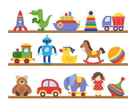 Toys on shelves. Cartoon toy on baby shopping wooden shelf. Dinosaur robot car doll isolated vector set