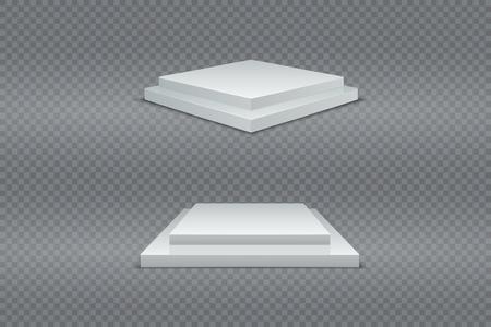Zestaw białych podium. 3d kwadratowy dwustopniowy zwycięzca piedestałów. Realistyczne światło. Wektor reklamowy produkt Ilustracje wektorowe