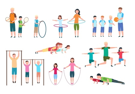 Active family. People and kids doing fitness exercises. Sports lifestyle vector flat characters