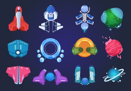 Cartoon spaceships. Alien planets ufo rockets and missiles. Space galaxy game vector items set 일러스트