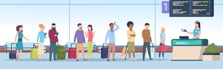 Warteschlange am Flughafen. Flugzeugpassagiere überprüfen die Registrierung am Flughafenterminal. Reisende Leute, Gepäck wartet im Line-Gate. Vektorkonzept