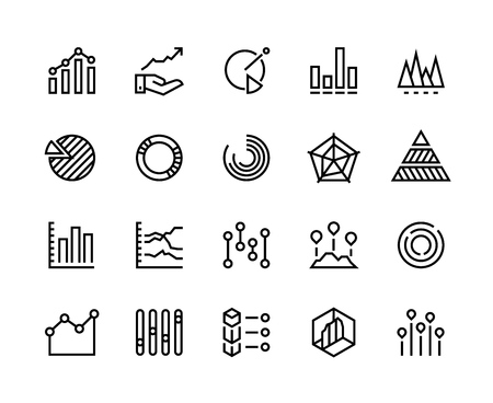 Diagrams line icons. Business data chart pie increase analytic candlestick chart trend information graph. Diagram vector set Banque d'images - 116608432