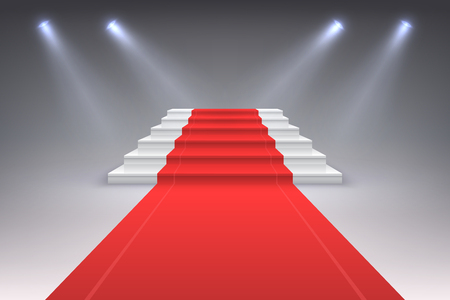 Realistic red carpet. Vip spotlight event stairs, award entrance ceremony staircase to success. Luxury red carpet vector concept
