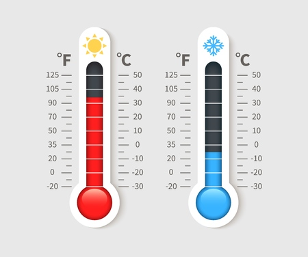 Cold warm thermometer. Temperature weather thermometers with celsius and fahrenheit scale. Thermostat meteorology vector isolated icon Vektorové ilustrace