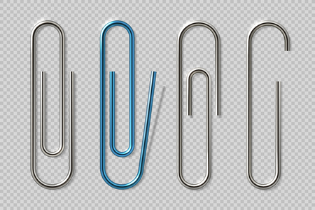 Realistic paper clips. Isolated transparent attach elements, school supplies, metal fasteners notebook holders. Vector isolated clips