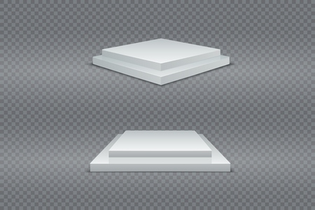 White podium set. 3d square two-stage pedestals winner. Realistic light. Advertising vector product
